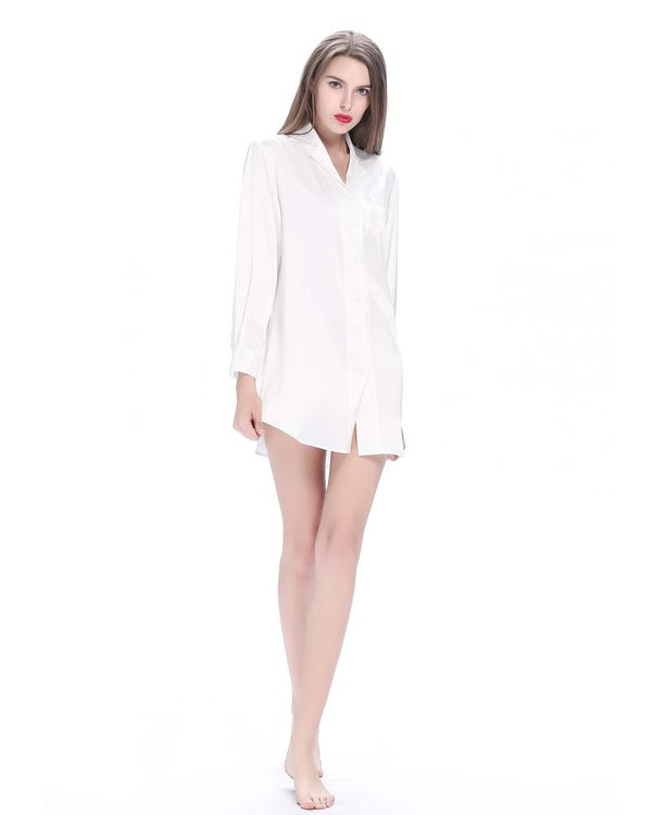 22 Momme Long Sleeve Casual Silk Nightshirt-hover