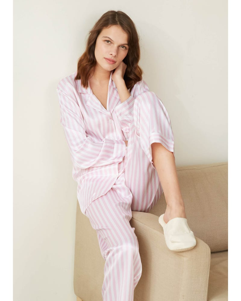 22 Momme Women Soft Pajamas With Pink And White Stripe