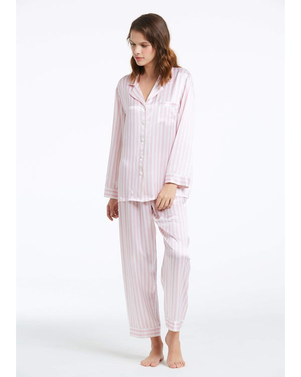 22 Momme Women Soft Pajamas With Pink And White Stripe-hover