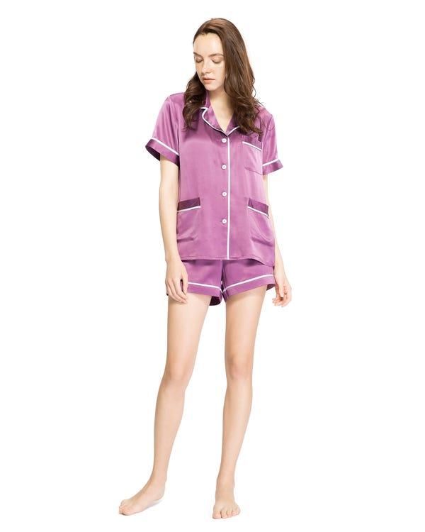 Шелковая пижама с рукавом и брюками для лета 22 Момми-hover