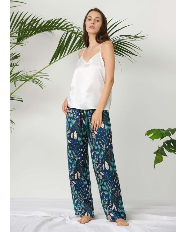 Blommig Lång Silk Camisol Uppsättning