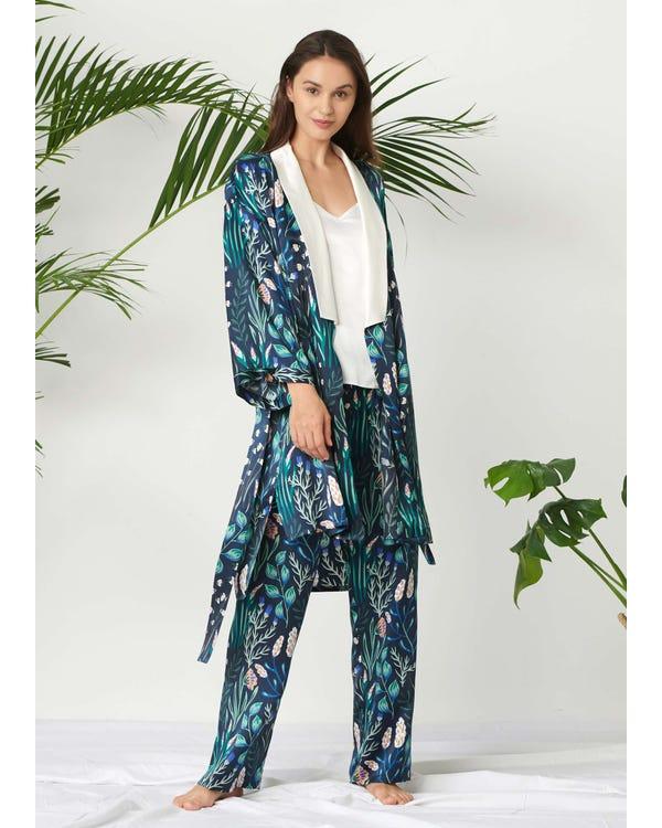 Kvinna Blommigt Tryckt Silke Pyjamas Set 3st