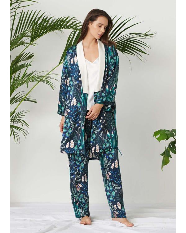 Kvinna Blommigt Tryckt Silke Pyjamas Set 3st-hover