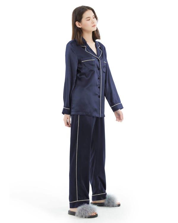 22MM Guld Piping Silke Pyjamas Set-hover