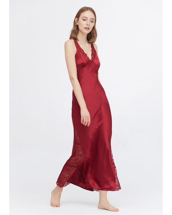 22 Momme Full Längd Silke Lacy Nightgown Claret XS
