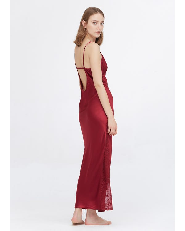 22 Momme Full Längd Silke Lacy Nightgown Claret XS-hover