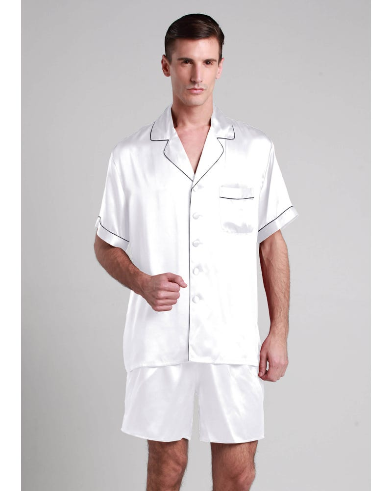 22 Momme Contrast Trim Short Silk Pajama Set