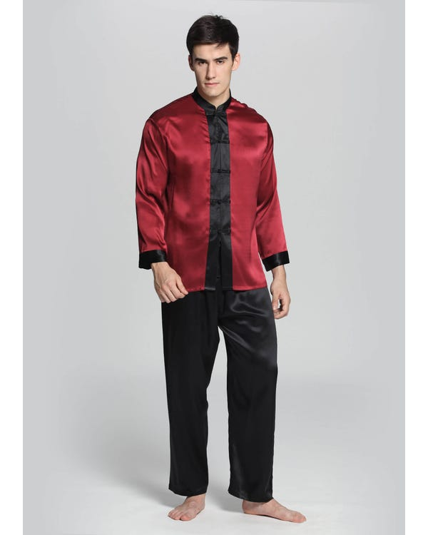 22 Momme Exotic Silk Pajamas Set for Men-hover