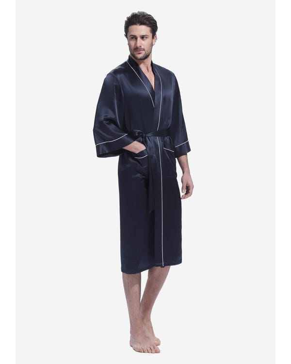 22 Momme Kimono Silk Robe with Piping