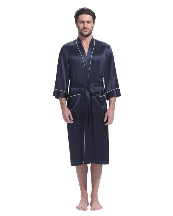 22 Momme Kimono Silk Robe with Piping-hover