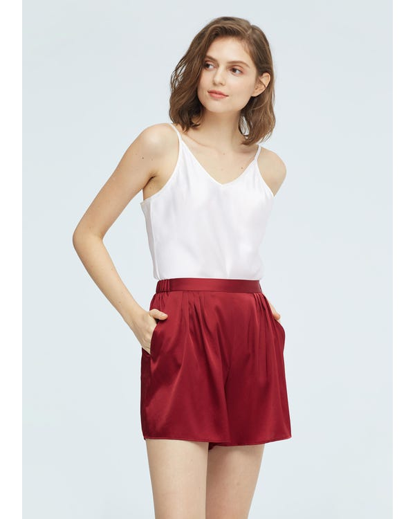 Womens Mulberry Silk Lounge Shorts-hover