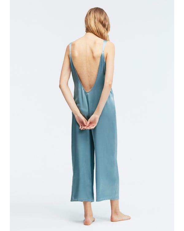 22 Momme U-back Silk Wide Jumpsuit Pajama-hover