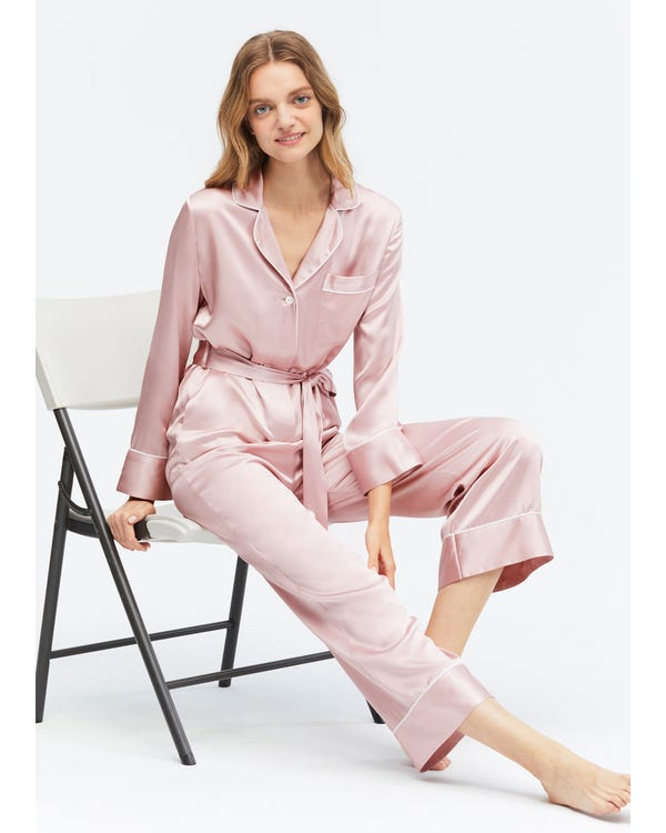 22 Momme Casual Belted Silk Jumpsuit Pajama-hover