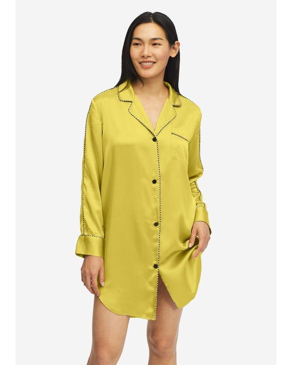 Stylish Silk Nightshirt With Contrast