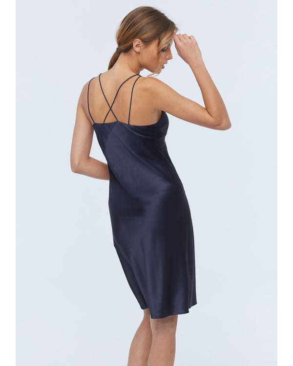 Elegant Charmig Silke Cami Nattlinne Navy Blue XS-hover