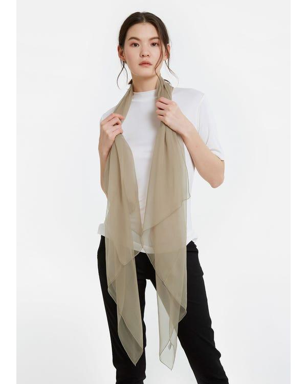 Elegant Solid Color Silk Chiffon Scarf-hover