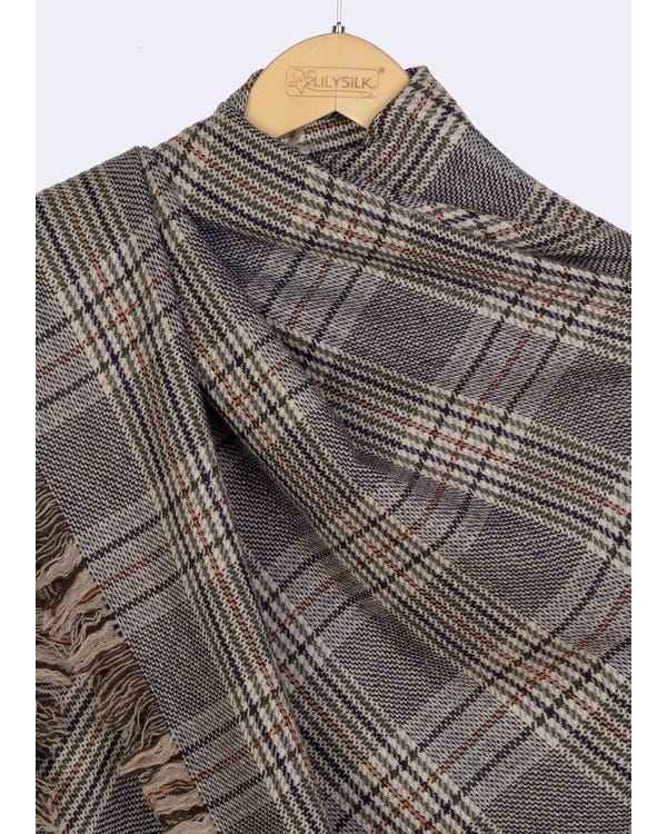 Classic Plaid Fringed Wool Scarf-hover
