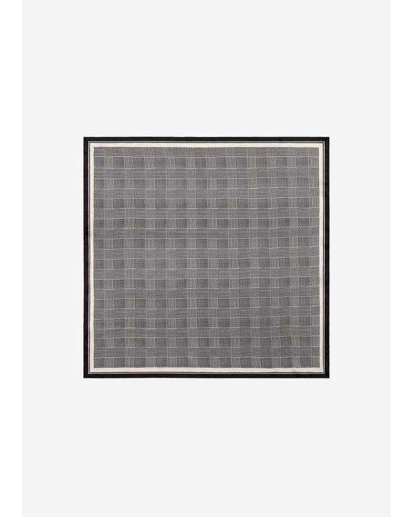 Houndstooth Printed Square Silk Scarf