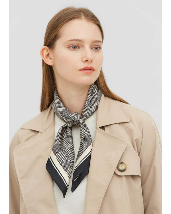 Houndstooth Printed Square Silk Scarf-hover