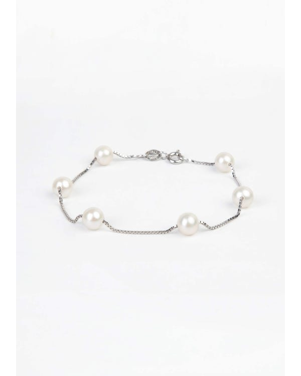 Freshwater Cultured Pearl  Sterling Silver Bracelet-hover