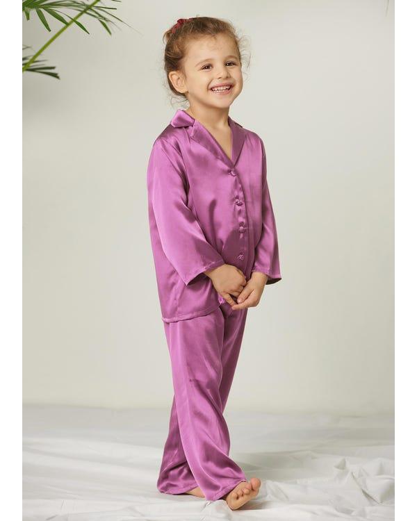 Klassiska Rent Silk Pyjamas Set För Barn