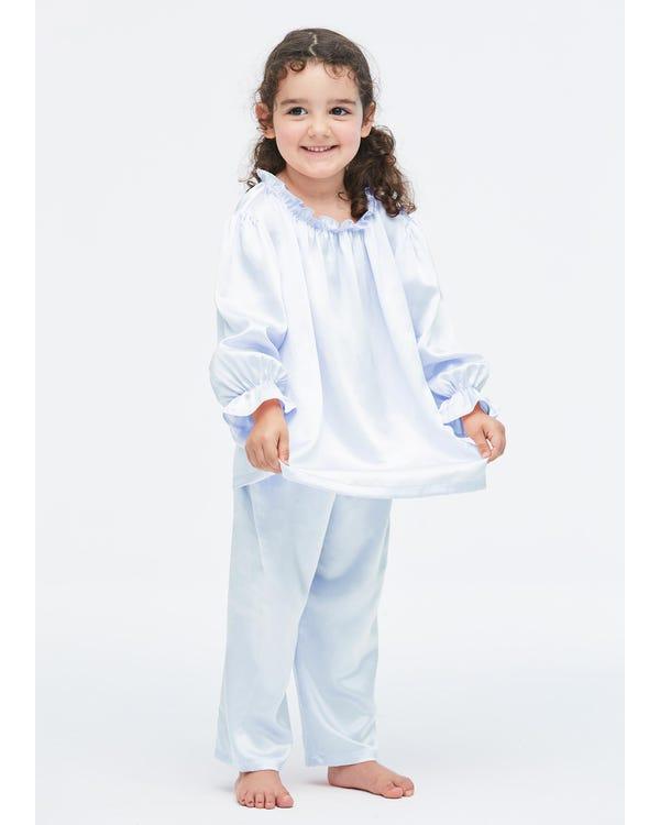 Silk Ruffle Trim Pajamas For Kids-hover