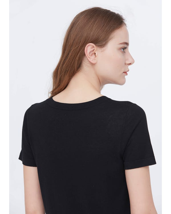 Soft Pure Silk Knitted T-shirt-hover