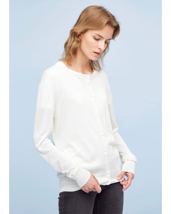 Breathable Silk Linen Knitted Cardigan