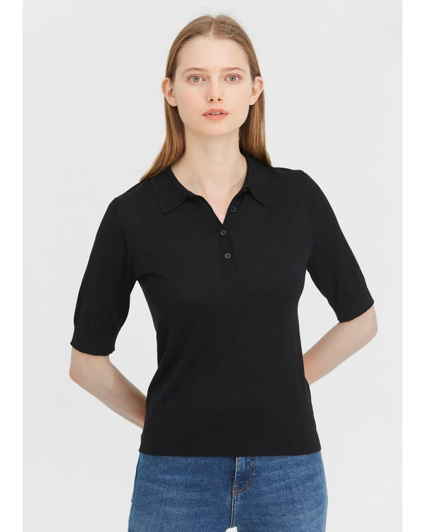 Elegant Silk Knitted Polo Shirt