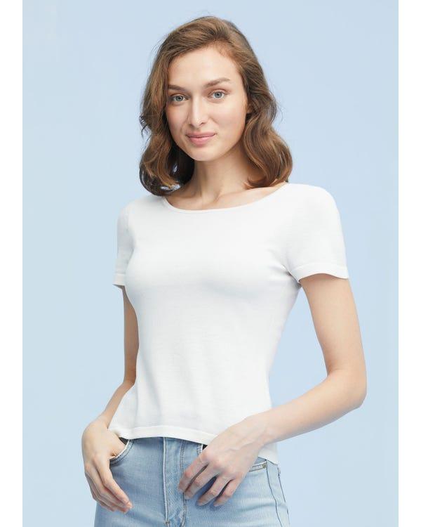 Elegant Front Back Reversible Silk Knit Tee