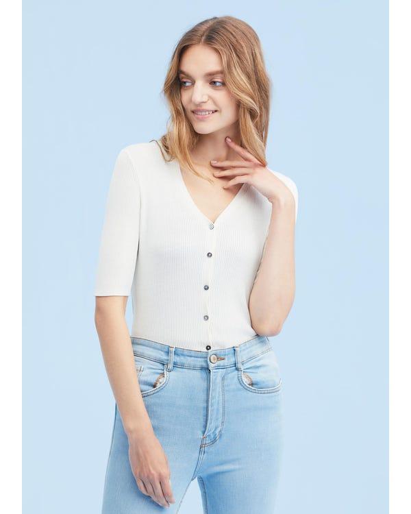 Elegant And Breathable V Neck Silk Cardigan
