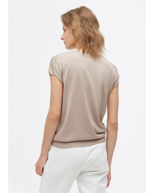Trendig Rund Hals-stickad T-shirt-hover