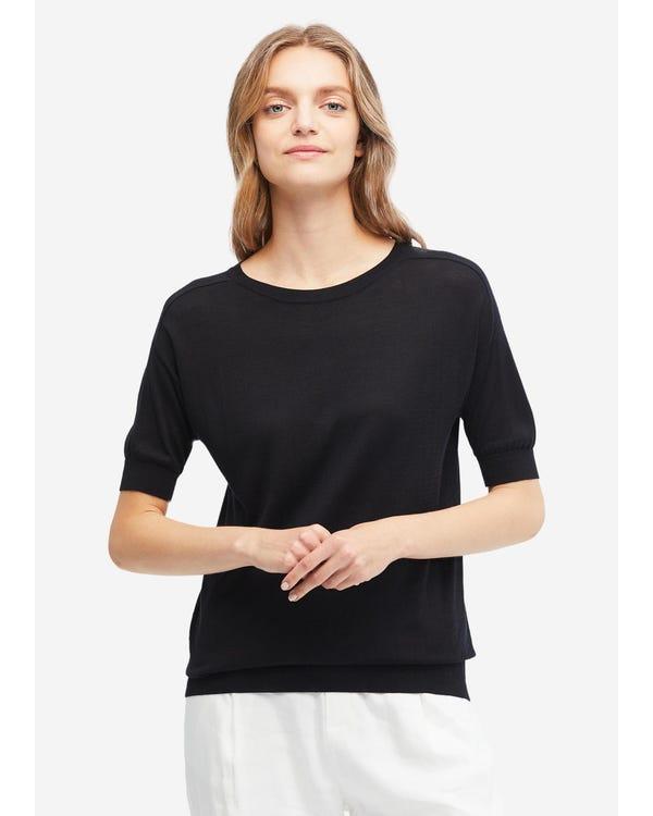 Mysig, Rund Hals-stickad T-shirt