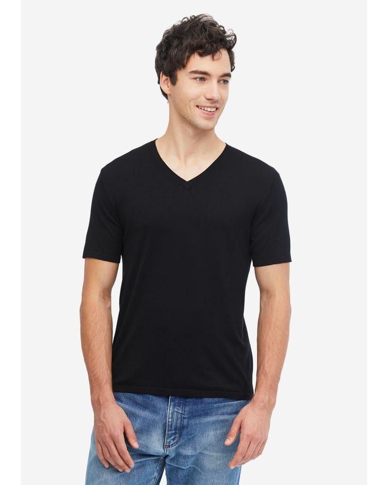 Mens Basic Silk Knitted T Shirt