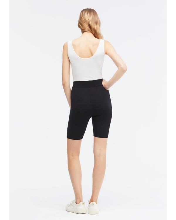 Solid Black Silk Knitted Bike Shorts