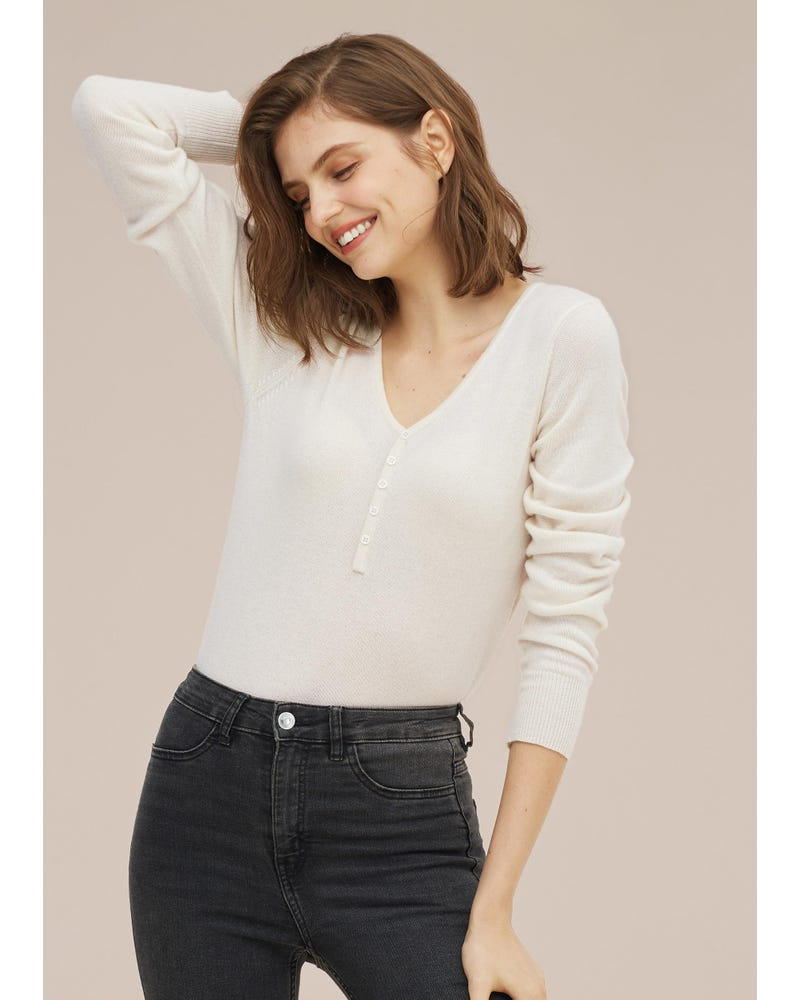 Women concise V-neck Cashmere Sweater