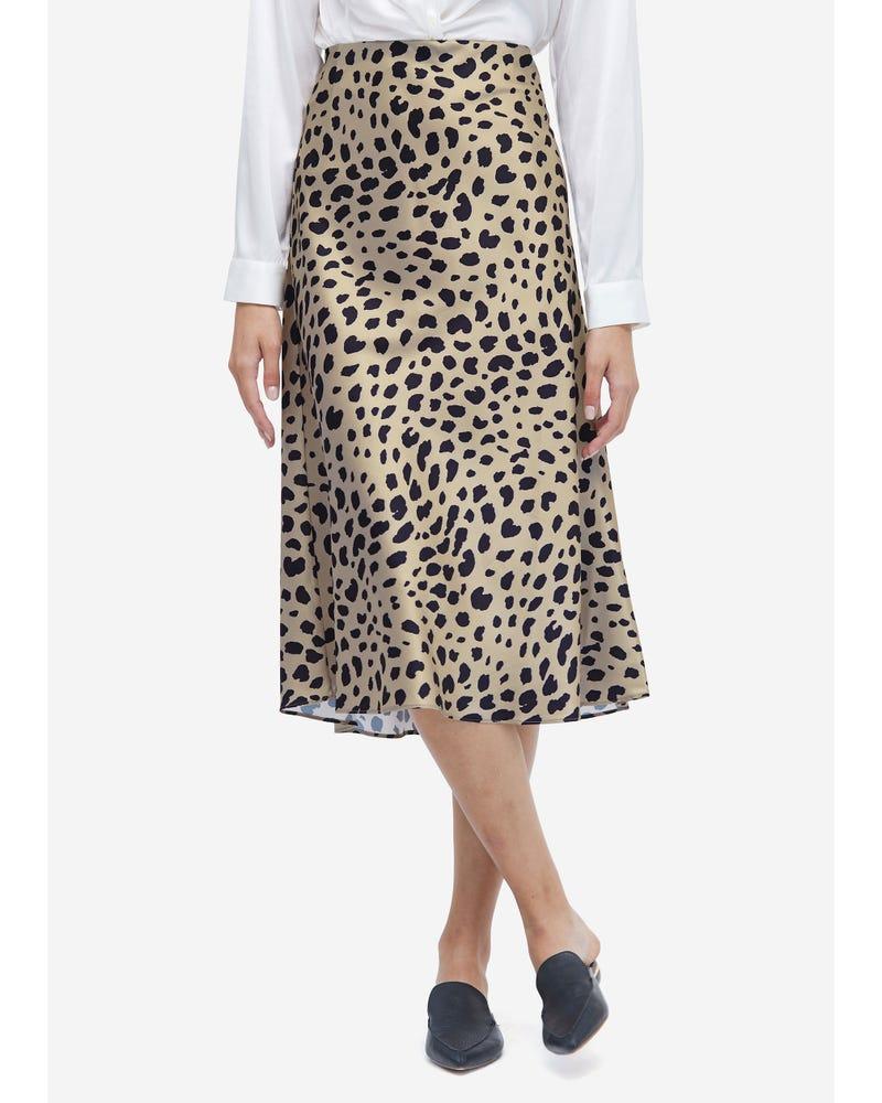 Kjol I Klassisk Sidenleopard