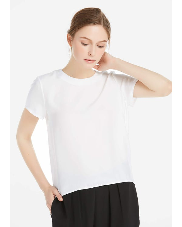 Button Slit Back Closure Silk Tee