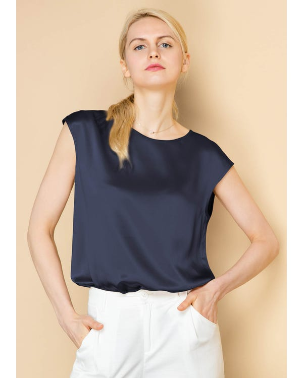 Basic Cap Sleeves Silk Tee