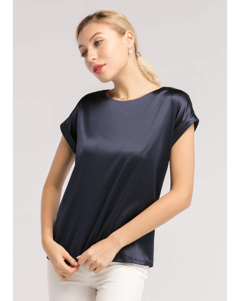 Short Sleeves Round Neck Silk Tee