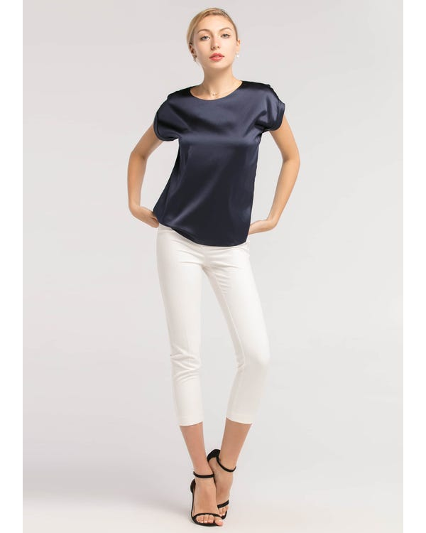 Short Sleeves Round Neck Silk Tee-hover