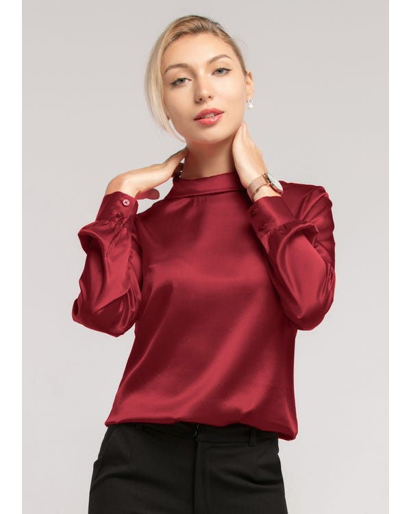 Stand Collar Long Sleeves  Silk Blouse