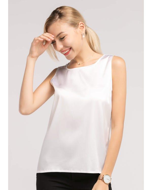 Basic Square Collar  Silk Tee