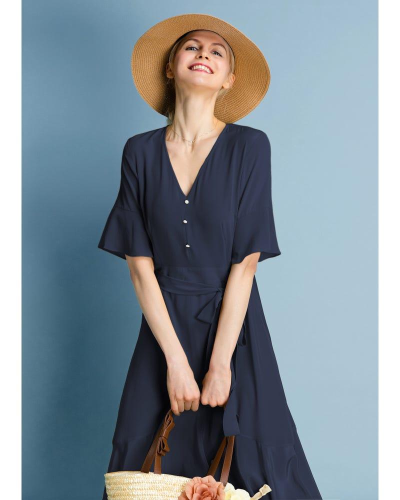 Ruffle Trim V Neck  Silk Dress