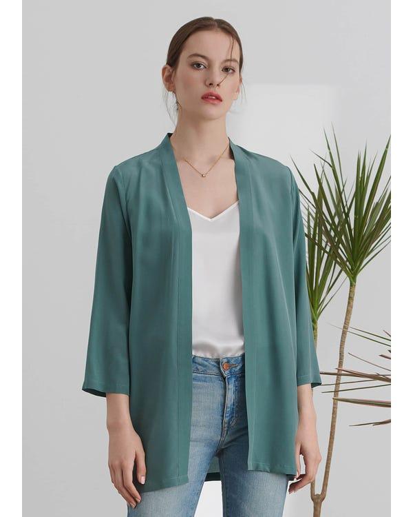 Lätt Matchande Siden Kimono-hover