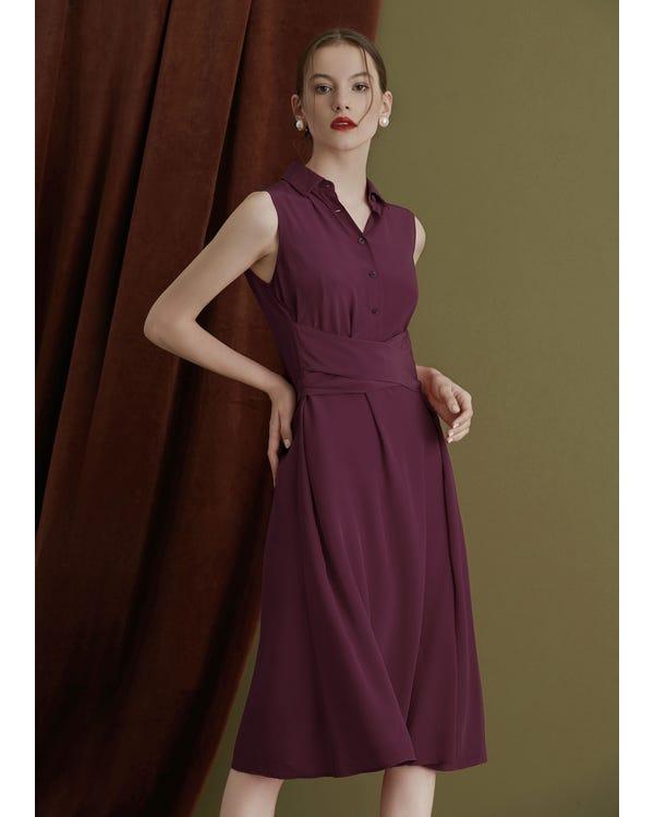 Body Flattering Silk Shirt Dress-hover
