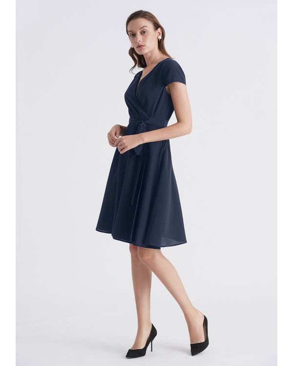 Figure Flattering Silk Wrap Dress-hover