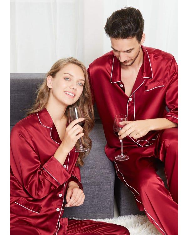 22 Momme Chic Siden Pyjamas För Par-hover