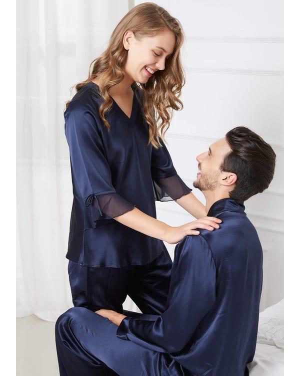 22 Momme Romantiska Siden Par Pyjamas-hover