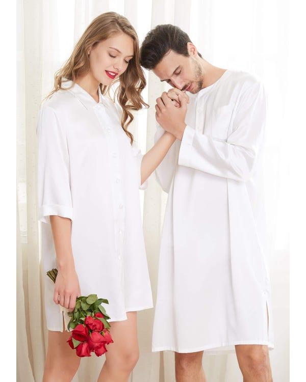 22 Momme Enkla Siden Par Nattskjortor